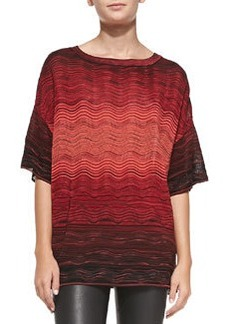 Ripple-Knit Degrade Short-Sleeve Top   Ripple-Knit Degrade Short-Sleeve Top