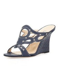 Algarrobo Raffia Wedge Sandal, Navy   Algarrobo Raffia Wedge Sandal, Navy