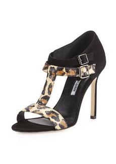 Amazca T-Strap Suede & Snake Sandal   Amazca T-Strap Suede & Snake Sandal