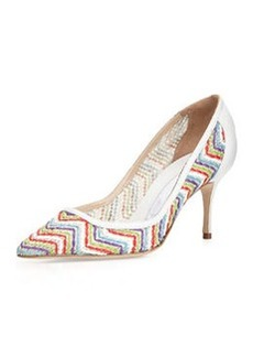 Arina Leather Zigzag Pump, Multi/White   Arina Leather Zigzag Pump, Multi/White