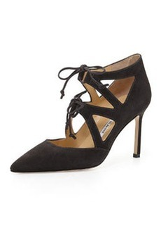 Asaki Double-Tie Point-Toe Suede Pump, Gray   Asaki Double-Tie Point-Toe Suede Pump, Gray