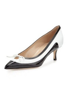 Aterf Bicolor Combo Kitten Heel Pump, Black/White   Aterf Bicolor Combo Kitten Heel Pump, Black/White
