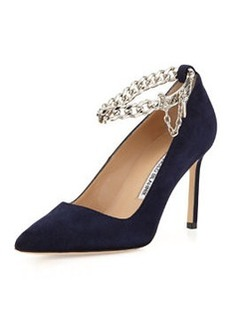 BB Chain 90mm Suede Pump, Navy   BB Chain 90mm Suede Pump, Navy