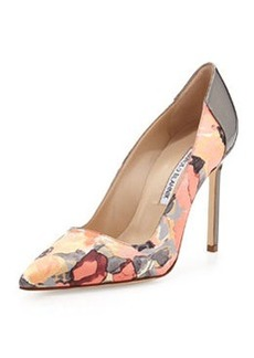 BB Floral-Print Satin Pump, Coral/Anthracite   BB Floral-Print Satin Pump, Coral/Anthracite