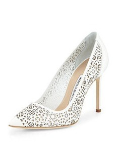 BB Laser-Cut Leather Pump, White   BB Laser-Cut Leather Pump, White