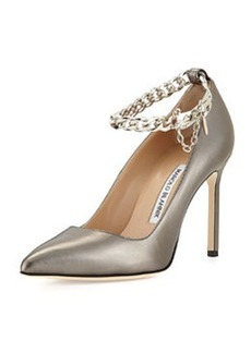 BB Leather Pump with Chain Strap, Anthracite   BB Leather Pump with Chain Strap, Anthracite