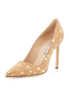 Manolo Blahnik BB Metallic Star Cork Pump, Natural/Gold