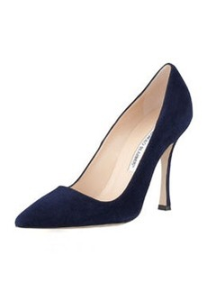 BB Suede Point-Toe Pump, Navy   BB Suede Point-Toe Pump, Navy