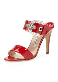 Bila Double-Band Patent Sandal, Red   Bila Double-Band Patent Sandal, Red