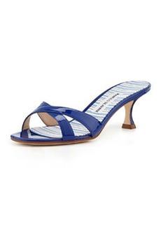 Callamu Patent Crisscross Slide, Blue   Callamu Patent Crisscross Slide, Blue