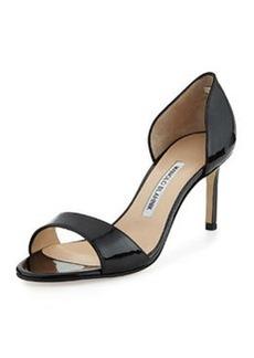 Catalina Patent Peep-Toe d'Orsay, Black   Catalina Patent Peep-Toe d'Orsay, Black