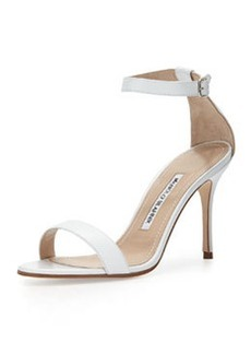 Chaos Leather Ankle-Wrap Sandal, White   Chaos Leather Ankle-Wrap Sandal, White