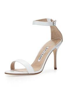 Chaos Leather Ankle-Wrap Sandal, White   Chaos Leather Ankle-Wrap Sandal, White
