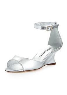 Cobras Metallic Demi-Wedge Sandal, Silver   Cobras Metallic Demi-Wedge Sandal, Silver