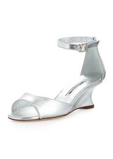 Cobras Metallic Demi-Wedge Sandal, Silver   Cobras Metallic Demi-Wedge Sandal, Silver