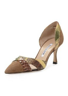 Crux Suede & Snakeskin d'Orsay Pump, Taupe/Brown/Green   Crux Suede & Snakeskin d'Orsay Pump, Taupe/Brown/Green