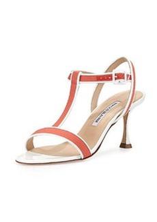 Dador Linen T-Strap Sandal, Coral   Dador Linen T-Strap Sandal, Coral