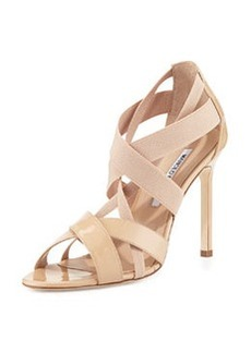 Eletti Patent Crisscross Sandal, Nude   Eletti Patent Crisscross Sandal, Nude