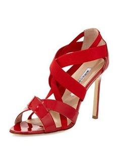 Eletti Patent Crisscross Sandal, Red   Eletti Patent Crisscross Sandal, Red