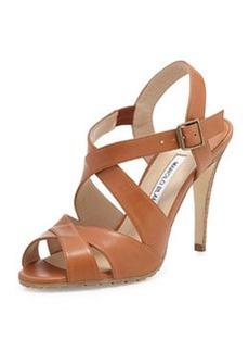Etola Leather Crisscross Sandal, Luggage   Etola Leather Crisscross Sandal, Luggage