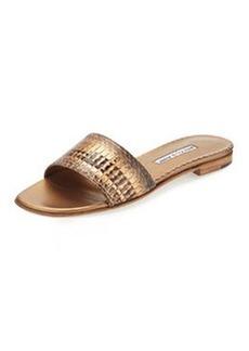 Manolo Blahnik Falco Snakeskin Slide Sandal, Gold