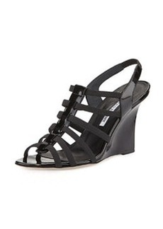 Iaggia Patent Wedge Sandal, Black   Iaggia Patent Wedge Sandal, Black