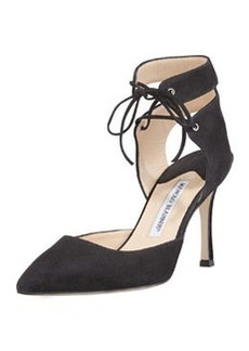 Lara Suede Laced-Ankle Pump   Lara Suede Laced-Ankle Pump
