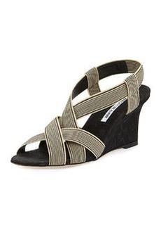 Lasti Stretch-Canvas Wedge Sandal, Black/White   Lasti Stretch-Canvas Wedge Sandal, Black/White