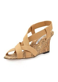 Lastiwe Strappy Elastic Cork-Wedge Sandal, Nude   Lastiwe Strappy Elastic Cork-Wedge Sandal, Nude