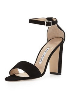Laurato Suede Chunky-Heel Sandal, Black   Laurato Suede Chunky-Heel Sandal, Black