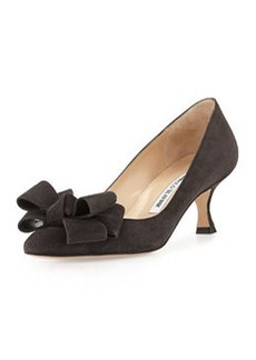 Lisane Suede Bow Kitten Heel Pump, Gray   Lisane Suede Bow Kitten Heel Pump, Gray