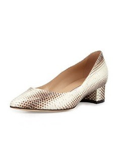 Listony Snakeskin Block-Heel Pump, Light Brown   Listony Snakeskin Block-Heel Pump, Light Brown