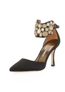 Manolo Blahnik Amatis Embellished Ankle-Wrap Pump, Black