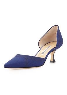 Manolo Blahnik Amatura Linen d'Orsay Pump, Blue
