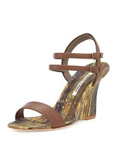 Manolo Blahnik Amim Cork Wedge Sandal, Brown