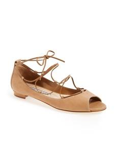 Manolo Blahnik 'Aneka' Peep Toe Flat (Women)