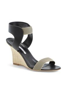 Manolo Blahnik Ankle Strap Wedge Sandal (Women)