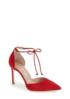 Manolo Blahnik Ankle Tie d'Orsay Pump (Women)