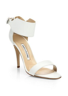 Manolo Blahnik Ankle-Wrap Leather Sandals