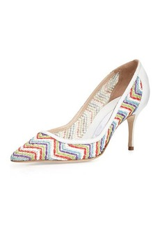 Manolo Blahnik Arina Leather Zigzag Pump, Multi/White