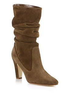 Manolo Blahnik Artesina Suede Slouchy Mid-Calf Boots