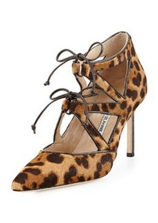 Manolo Blahnik Asaki Calf Hair Double-Tie Pump, Leopard