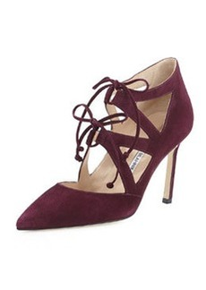 Manolo Blahnik Asaki Double-Tie Suede Pump, Raisin