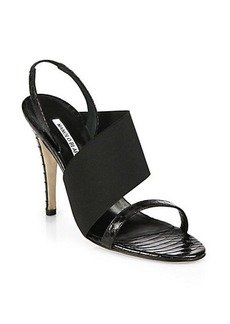 Manolo Blahnik Asymmetrical-Detail Snakeskin Sandals