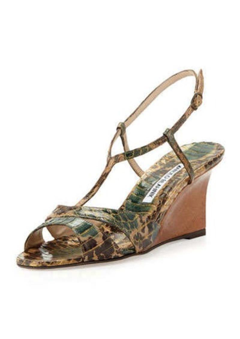 Manolo Blahnik Atracon Camo Snake Wedge Sandal, Army Green
