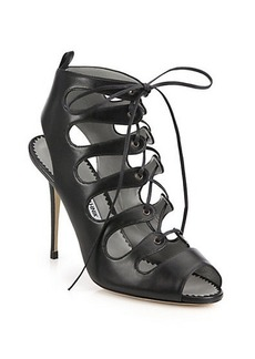 Manolo Blahnik Attal Leather Lace-Up Sandals