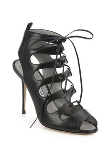 Manolo Blahnik Attal Leather Lace-Up Sandals