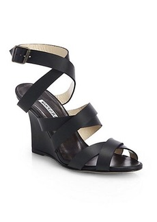 Manolo Blahnik Avola Strappy Leather Wedge Sandals