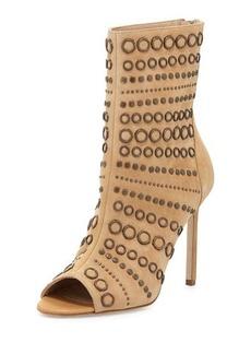 Manolo Blahnik Baskegrod Open-Toe Grommet Suede Ankle Boot, Camel