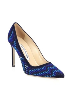 Manolo Blahnik BB 105 Embroidered Chevron & Suede Pumps